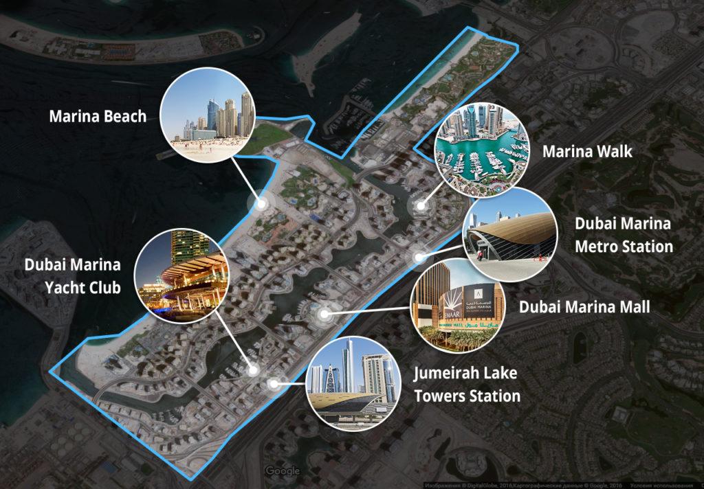 Google map DigitalGlobe Dubai Marina